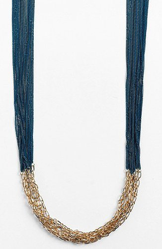 Tasha Multistrand Link Necklace Blue/ Gold