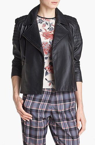 Mural Quilted Leather Biker Jacket X-Small