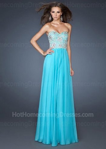 Discount Sequined Bodice Strapless Long Homecoming Dress 2013 Aquamarine