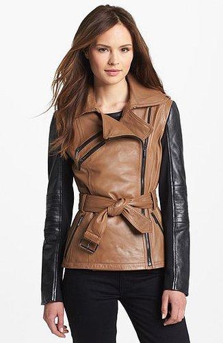Laundry by Shelli Segal Two Tone Leather Moto Jacket X-Large