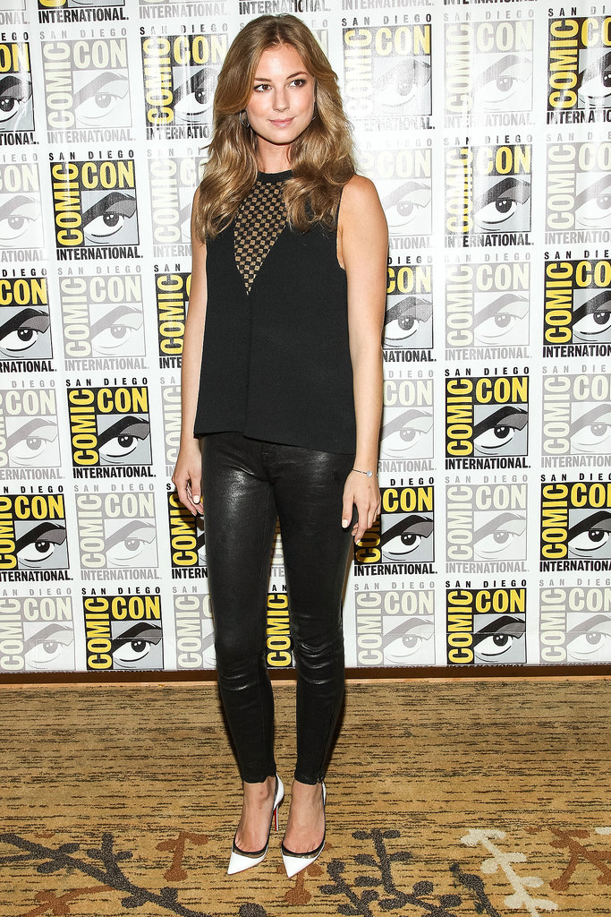 Emily VanCamp's second-skin black trousers and sleeveless top added a jolt of energy to a press event for Captain America: The Winter Soldier.