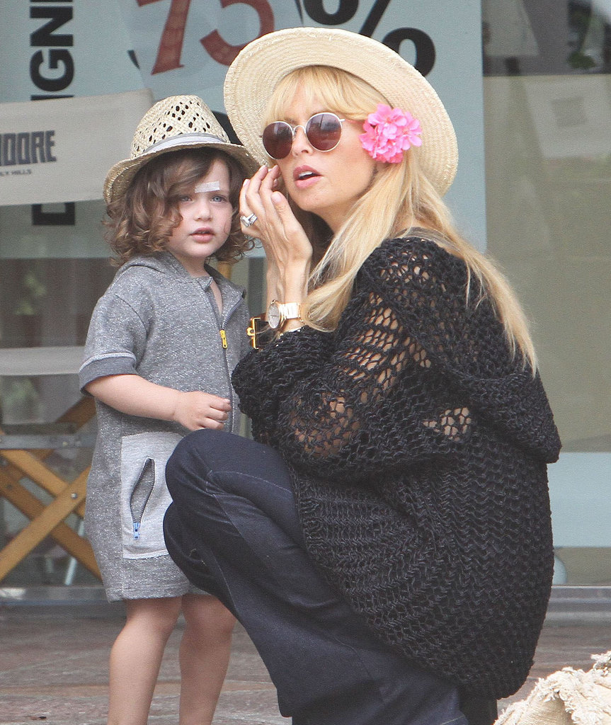 Rachel Zoe wore a flower picked by her son, Skyler, in Malibu.