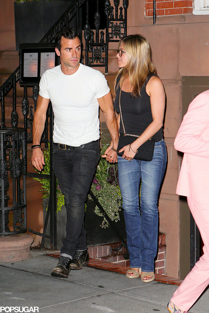Jennifer Aniston and Justin Theroux held hands.