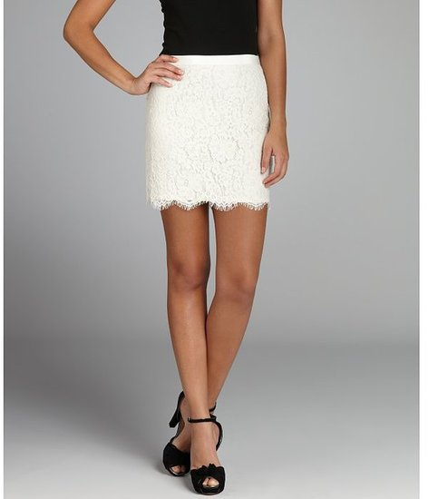 Wyatt ivory lace scalloped eyelash trimmed mini skirt