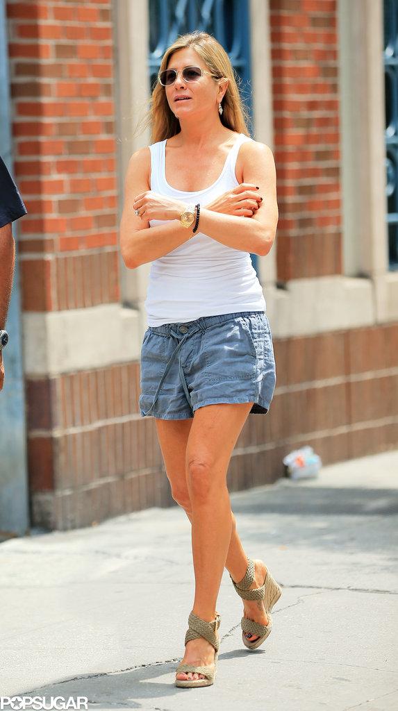 Jennifer Aniston was back on the set Monday.