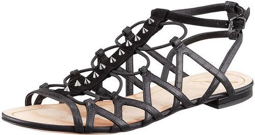 B Brian Atwood Agustina Stretch Flat Gladiator Sandal, Black