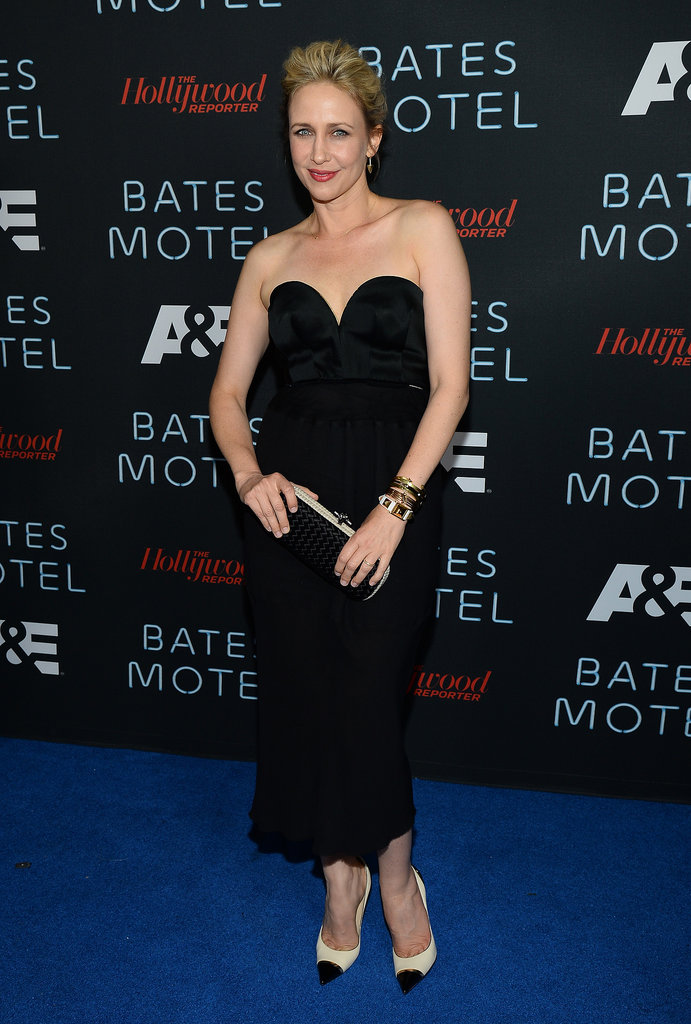 Vera Farmiga was chic in a black bustier dress and black and white cap-toe pumps at the Bates Motel party during Comic-Con.