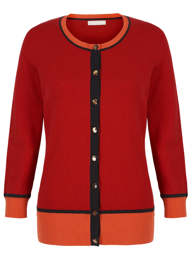 Update your cardigan collection with a bold red and orange number ($80). Photo courtesy of Banana Republic