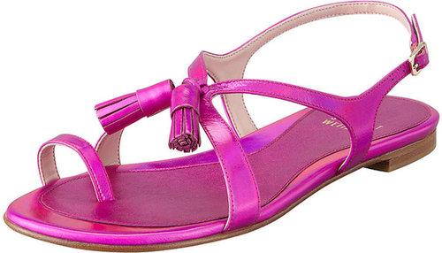 Stuart Weitzman Flapper Hologram Specchio Flat Sandal, Shocking Pink