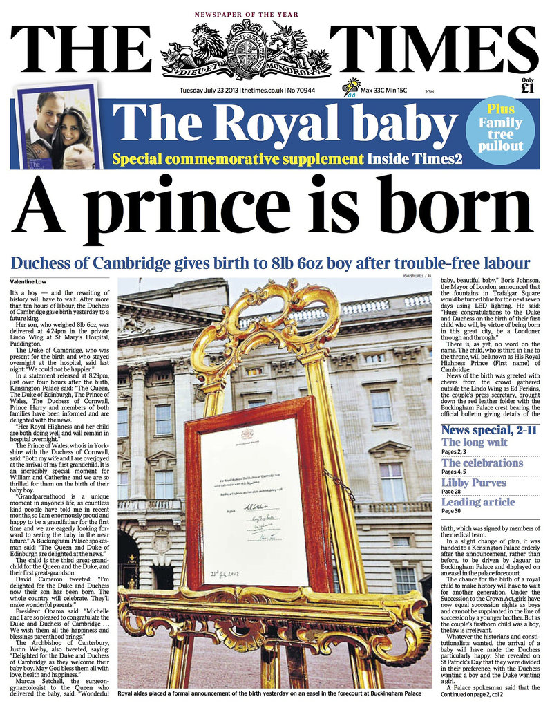 The front page of The Times, from England, on July 23.