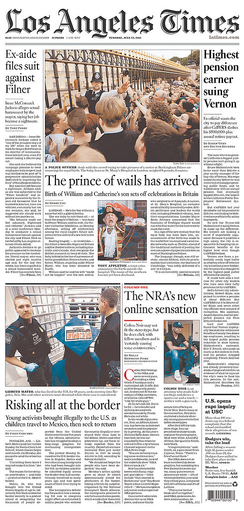 The front page of Los Angeles Times on July 23.