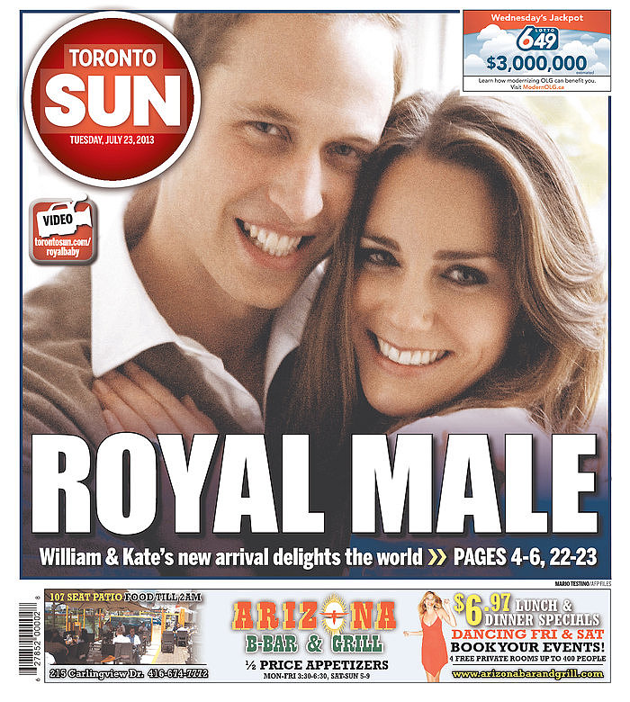 The front page of Toronto Sun on July 23.