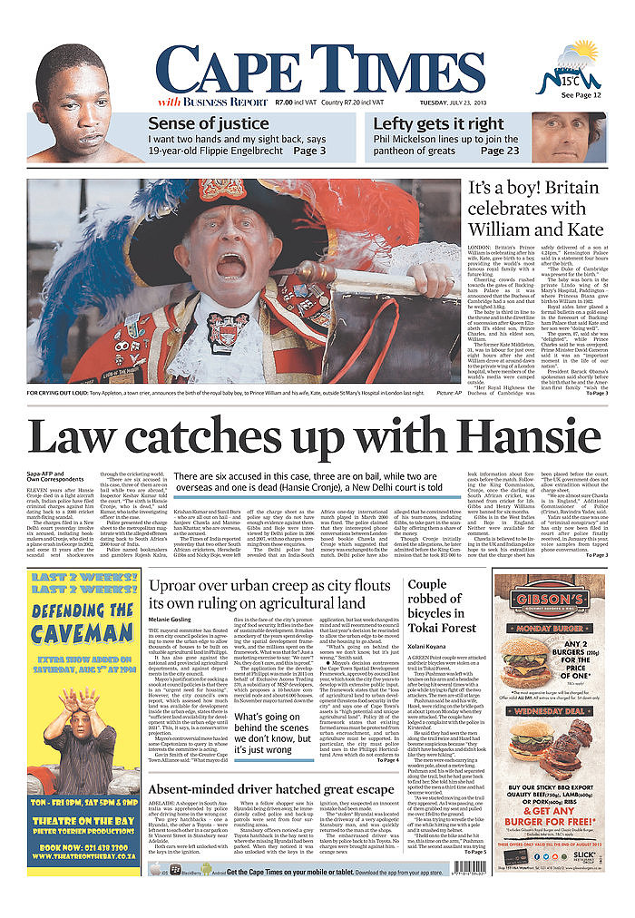 The front page of Cape Times, from South Africa, on July 23.