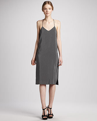 Tibi Stripe-Front Silk Halter Dress