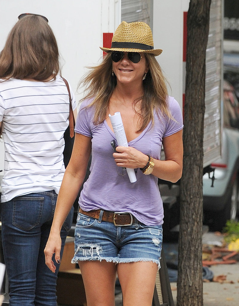 Jennifer Aniston filmed Squirrels to the Nuts in NYC.