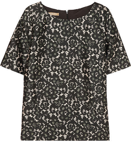 Michael Kors Lace-print silk-blend shantung top
