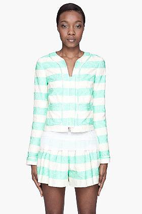 THAKOON Mint green jacquard Cardigan blazer