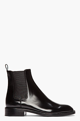 SAINT LAURENT Black Patent leather Rock Chelsea Boots