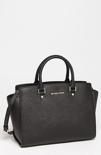 MICHAEL Michael Kors 'Selma - Large' Leather Satchel Black