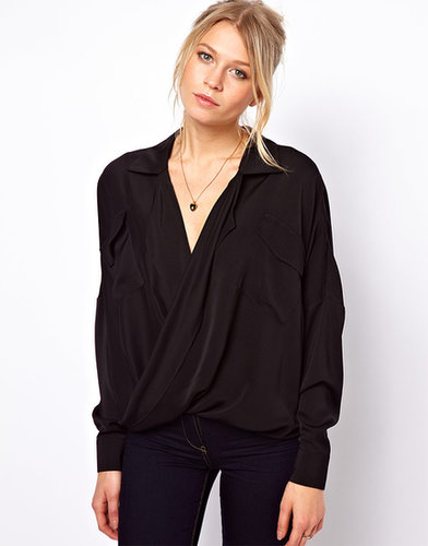 ASOS Blouse With Drop Wrap And Double Pocket
