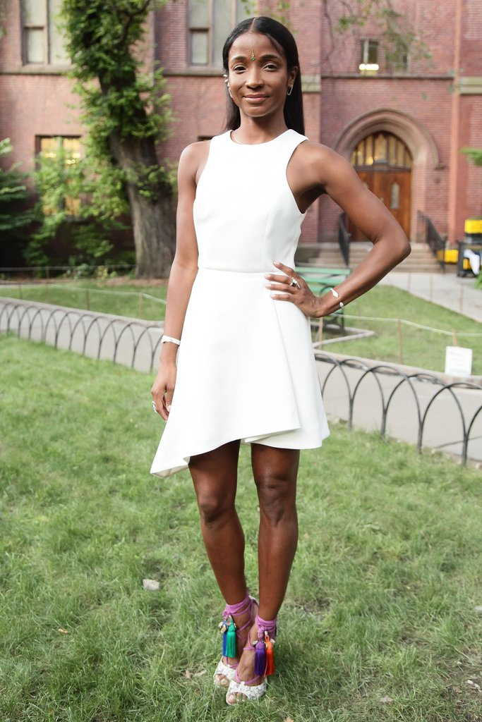 Genevieve Jones walked in the grass wearing bright tasseled shoes for the L-atitude Resort preview.