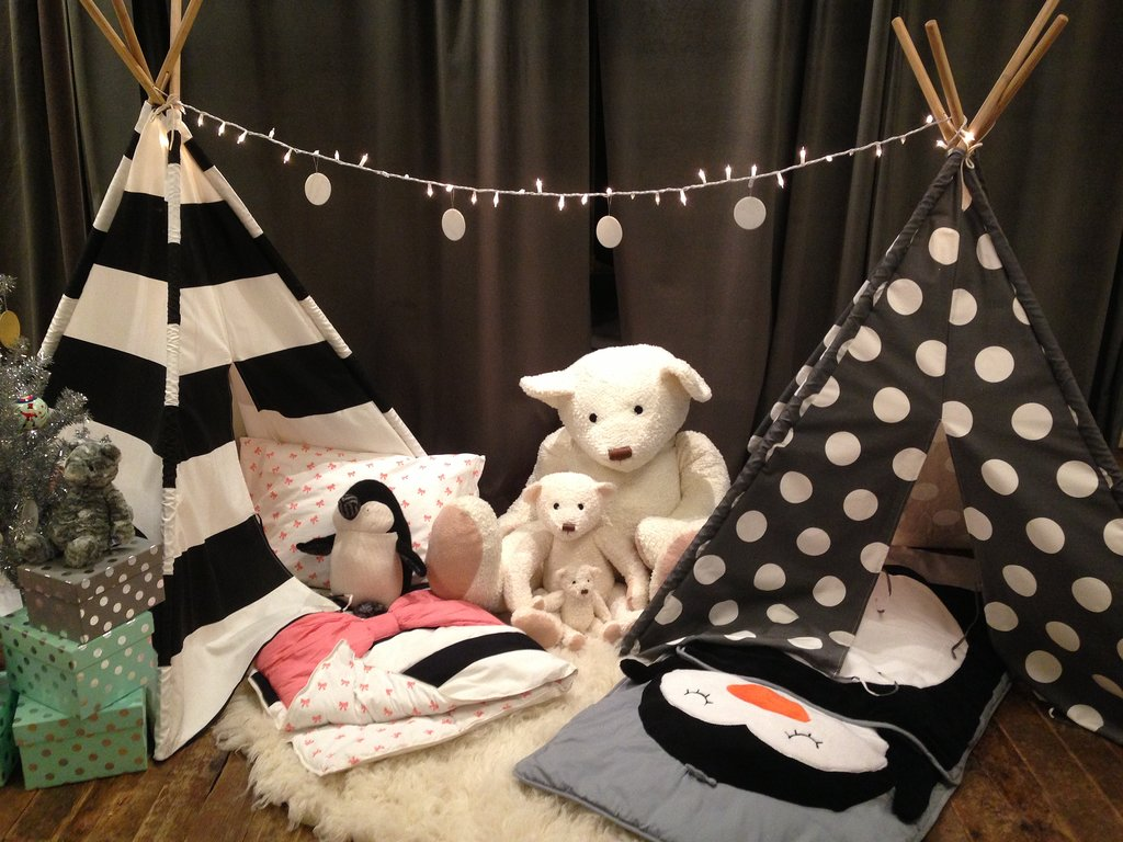 Pitch a tent . . . or two. Bold black and white stripes and polka dots are a mod combo.