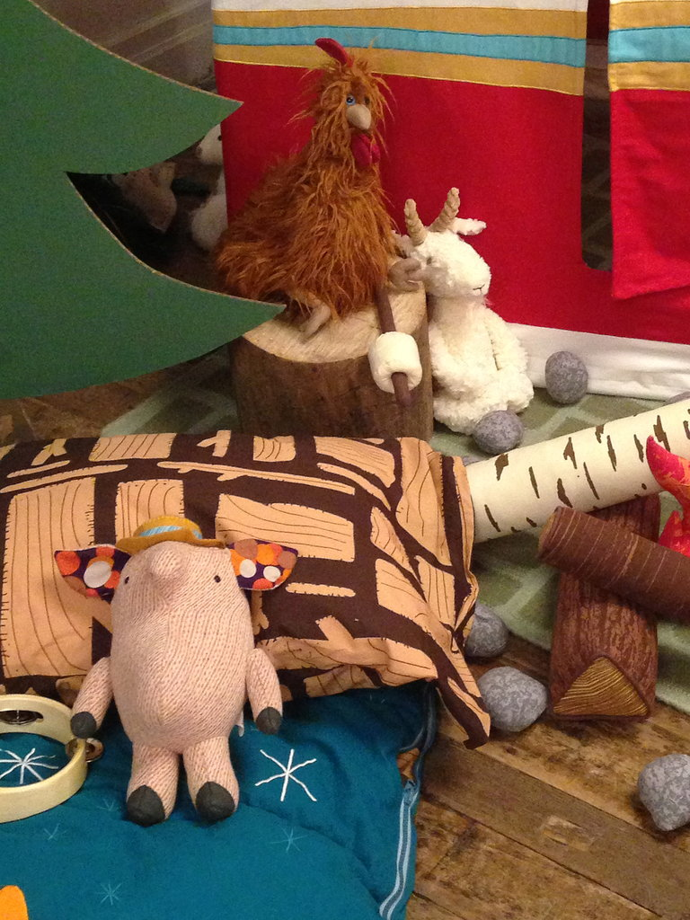 A bevy of plush pals makes the campfire extra cozy.