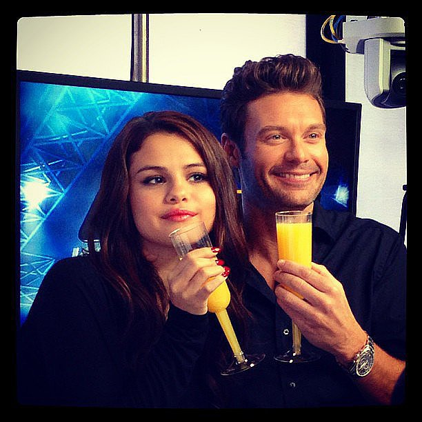Selena Gomez drank mimosas on Tuesday morning during On Air With Ryan Seacrest. Source: Instagram user officialellenk