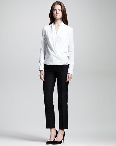 Helmut Lang Leather-Trimmed Drape Top