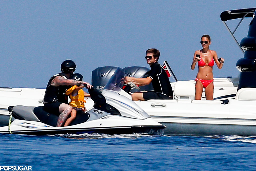 Bikini-clad Nicole Richie snapped a photo of her husband, Joel Madden, and her son, Sparrow, on a Jet Ski.