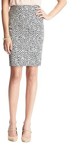 Carved Leaf Print Pencil Skirt in Doubleweave Cotton