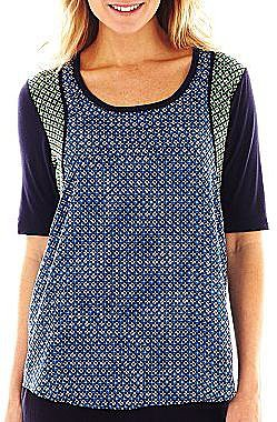 Liz Claiborne Active Mix-Print Elbow-Sleeve Top