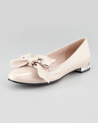 Miu Miu Patent Leather Smoking Slipper with Bow, Natural