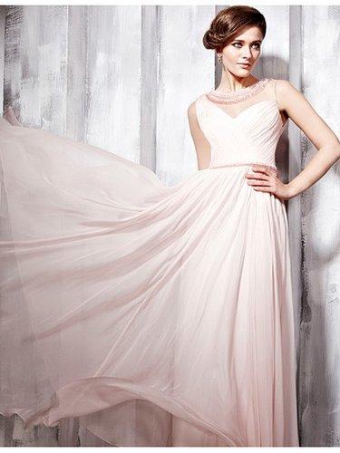 Pink Spaghetti Strap Beading Chiffon A-line Prom Homecoming Dress PD80992