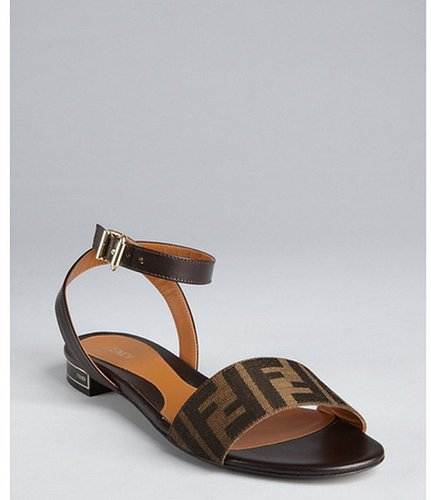 Fendi tobacco zucca coated canvas and leather sandals