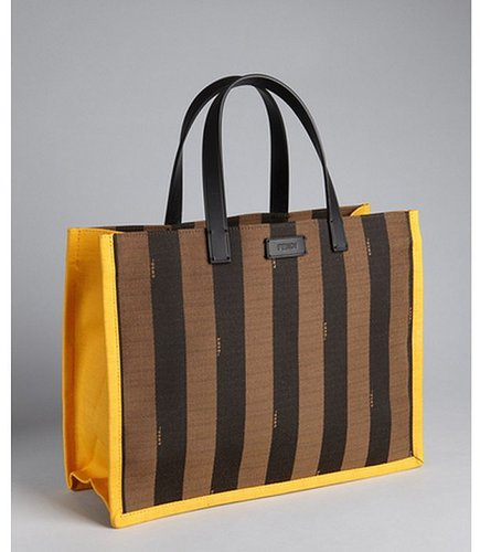 Fendi yellow and tobacco logo stripe canvas tote with pouchette