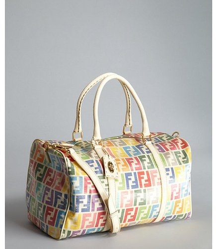 Fendi ivory multi color zucca coated canvas duffel bag