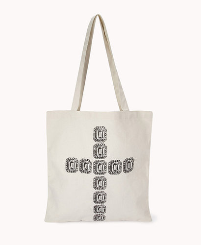 FOREVER 21 Bejeweled Cross Tote