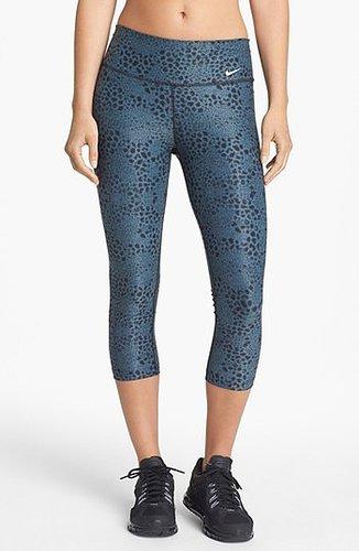 Nike 'Legend 2.0 Tight Poly' Print Capri Leggings Womens Armory Blue Size Large Large