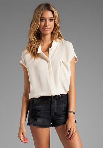 Halston Heritage Short Sleeve Draped Collar Top With Shirttail Hem