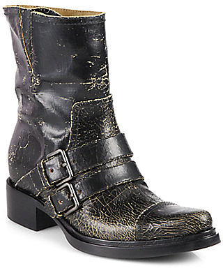Miu Miu Distressed Leather Motorcycle Boots