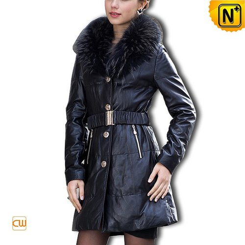 Fashion Black Leather Down Coat CW610012 - cwmalls.com