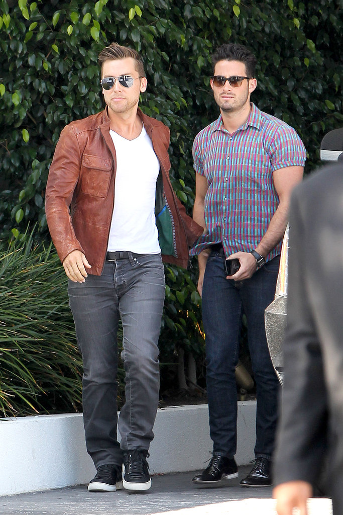 Lance Bass and his boyfriend Michael Turchin attended the baby shower.