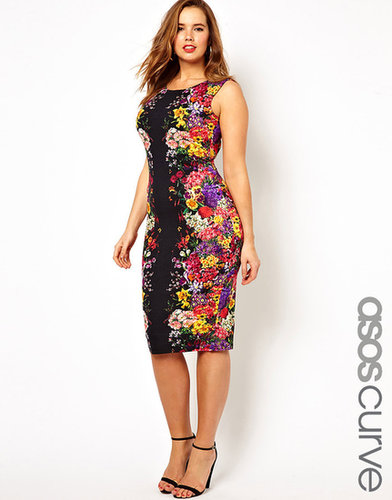 ASOS CURVE Body-Conscious Dress In Mirror Floral Print