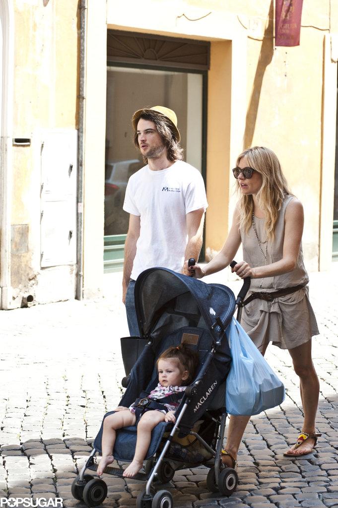 Sienna Miller, Tom Sturridge, and Marlowe took a stroll around Rome.