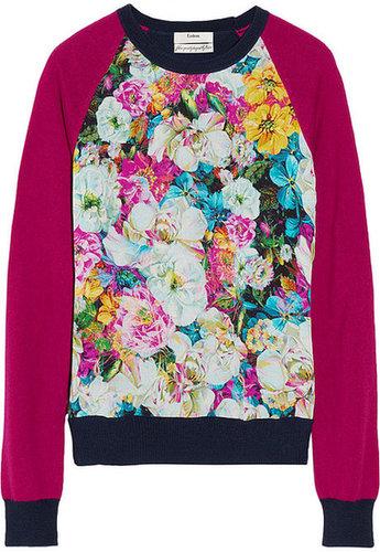 Erdem Carmen floral-print silk-chiffon and knitted sweater