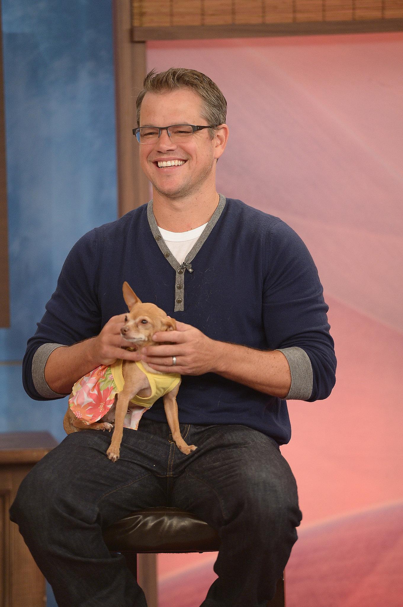 Matt Damon cradled a chihuahua during a stop on Despierta America in Miami.