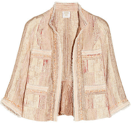 Anna Sui Tulle-trimmed bouclé-tweed jacket