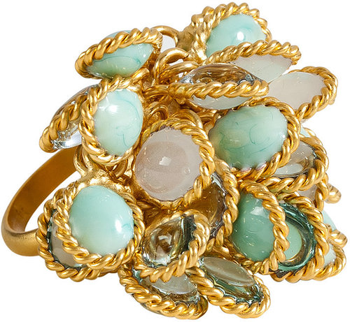 Gripoix Gold-Plated Ring with Pastel Colored Glass Stones