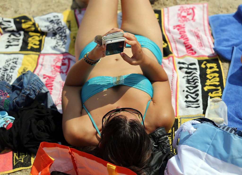 In mid-July, a woman hit the beach in Weymouth, England.